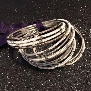 Jennifer miller white/silver beaded bracelets